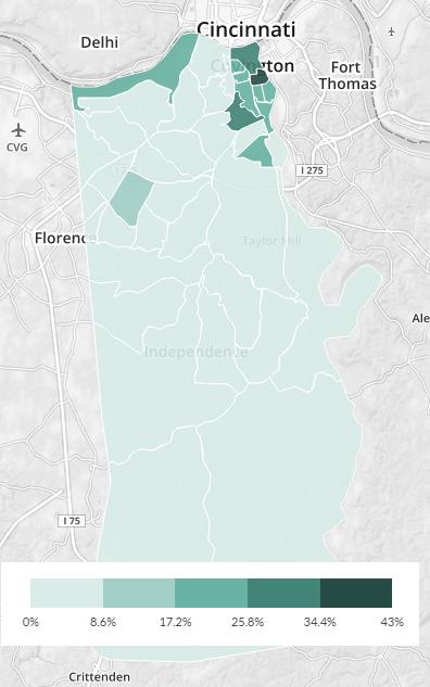 kenton county ky no-car map