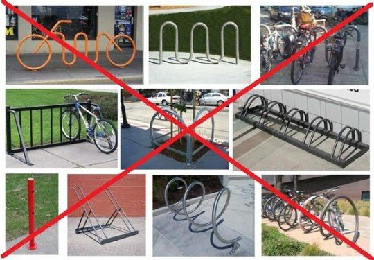Examples of UNacceptable bicyle parking with X