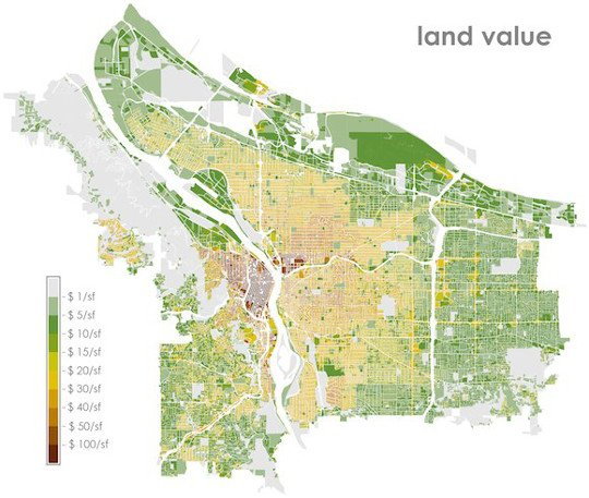 Land Value Map Parking and planning: Lessons from a map of Portland land value  Land Value Map