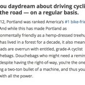 Travel site says 'driving cyclists off the road' is rite of passage in Portland – UPDATED