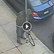 Video from Philly shows thief removing sign pole to steal a bike