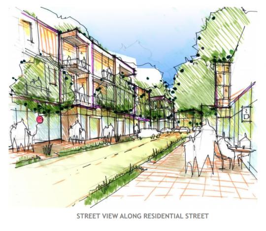 three-story development
