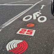 Bike lane art honors late Blazers star Jerome Kersey