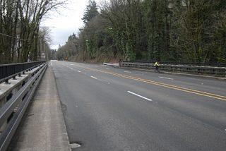 lonely biker on barbur bridge