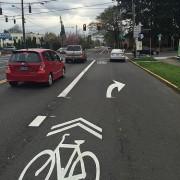 City removes portion of N Rosa Parks bike lane to allow right turns