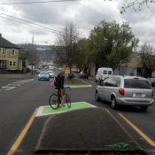 Another use for green? City adds bike refuges at SE Ankeny/Sandy/11th