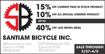 Santiam Bicycle Sale!