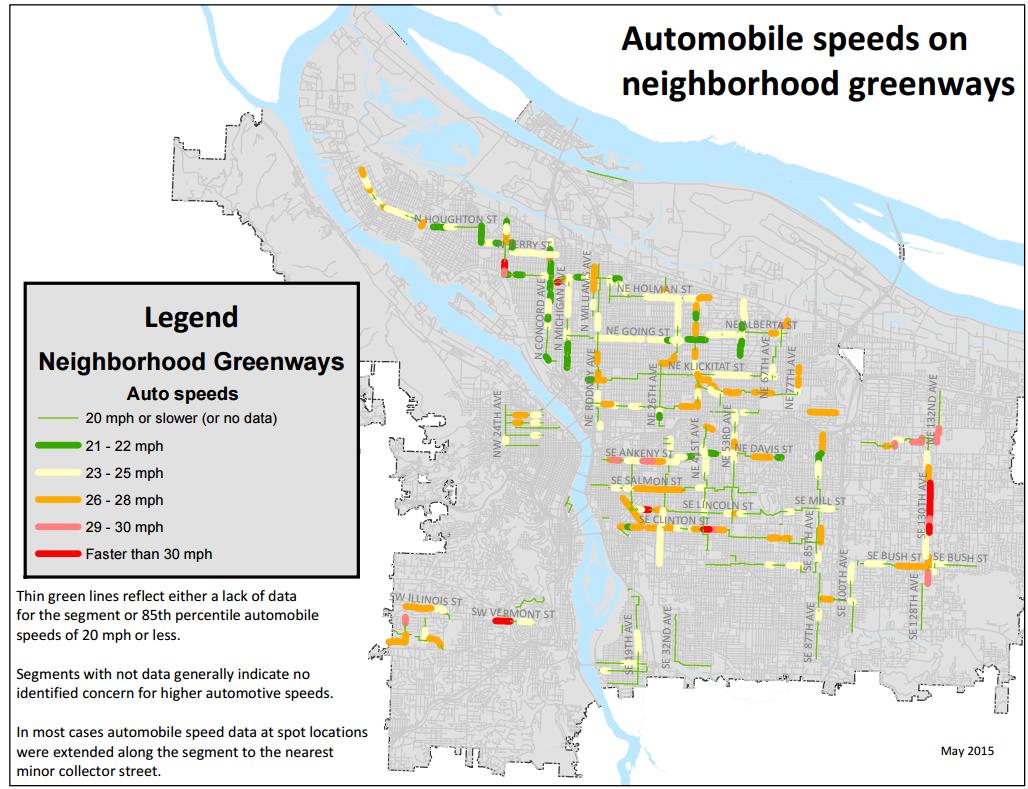 Speeding is common on most neighborhood greenways in Portland, study finds  - BikePortland org