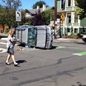 Car lands on its side facing wrong way after crash at North Williams and Beech – UPDATED