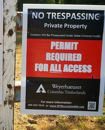 Major regional timber company now requires permit on popular logging