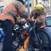 Portland firefighters saw through lock to rescue bike from would-be thief