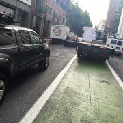 Lane blockage on SW Stark presents a different kind of bike commute 'challenge'