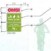 'Fast Bikes Use Water Ave' and other signs coming to Esplanade near OMSI