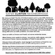Flyers by Woodward residents question 'isolated' diverter at 32nd and Clinton