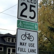 "SE Clinton gets Portland's first ""Bikes May Use Full Lane"" sign"