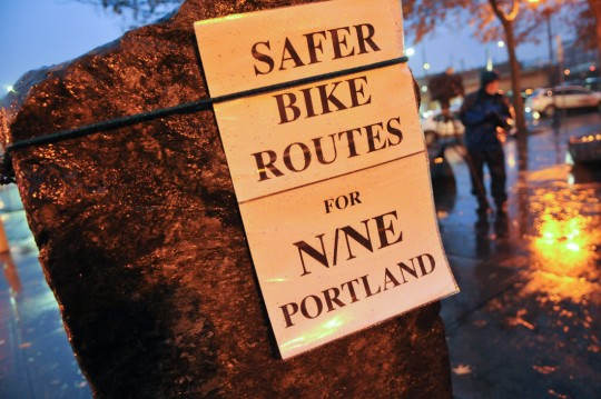 Put on by Livable Streets Action, an affiliate group of BikeLoudPDX. This vigil was held to remember the 409 people who have died on Oregon roads so far in 2015... and particularly Martin Greenough, who was killed five days ago while biking on NE Lombard.