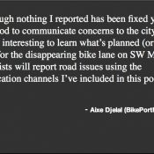 My experience reporting road issues using ORCycle and PDXReporter apps