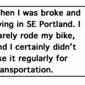 Comment of the Week: 'When I was broke, I barely rode my bike'