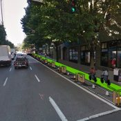 Pop-up protected bike lane coming to SW Broadway tomorrow