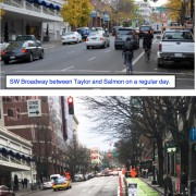 A closer look at the 'Better Broadway' pop-up protected bikeway
