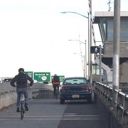 Why does Multnomah County allow auto parking on the Morrison Bridge bike path?