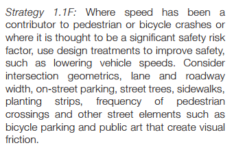 lower speeds from bike ped plan