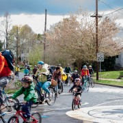 Tagging along with the Kidical Mass Easter Ride