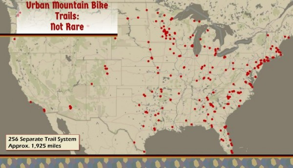 Every dot is a urban mountain biking trails system