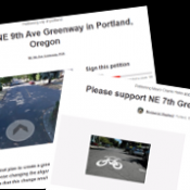 Dueling petitions: NE 7th Avenue greenway supporters swamp 9th as council votes