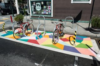 New Mural Painted in Bike Parking Corral | March 28, 2015