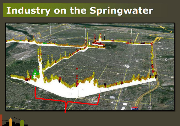 Graphic showing emissions near the Springwater from researcher Alex Bigazzi at Portland State University.