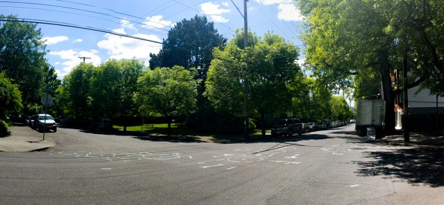 Panorama of Ankeny pavement markings, looking southwest.  Ted Timmons, CC-BY 3.0.