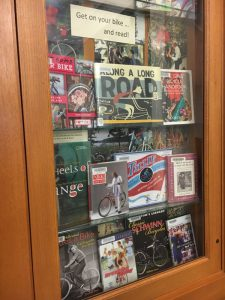 Bike books on display at the North Portland Library.(Photo: Josh Berezin)
