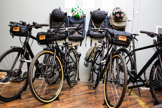 The new Stumptown Coffee employee bike fleet — complete with helmets and backpacks.(Photos: Stumptown Coffee)