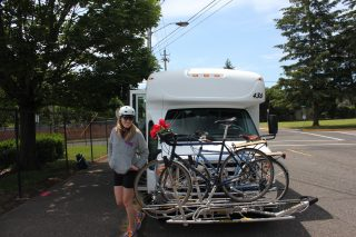 My bike and my ride to the Gorge - all ready to roll!(Photos by Kiel Johnson and Kate Laudermilk)