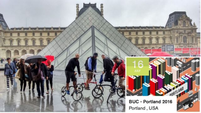 Participants in the Paris Challenge at a checkpoint in front of the Louvre.(Photo: Brompton)