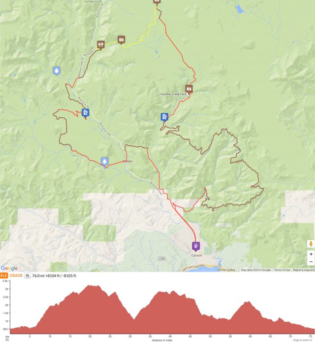 Falls Creek Hinterland Route map and elevation