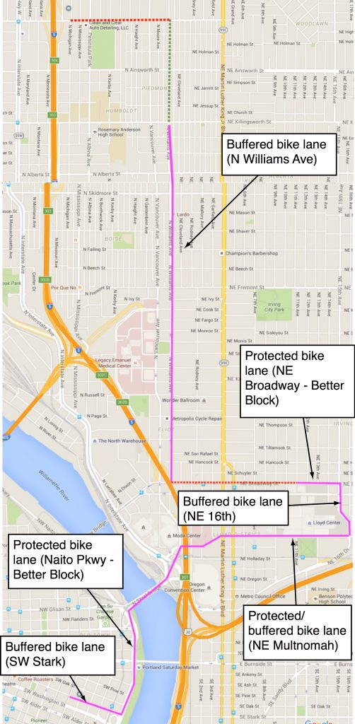 Purple lines are better-than-average bike lanes — either buffered or protected.
