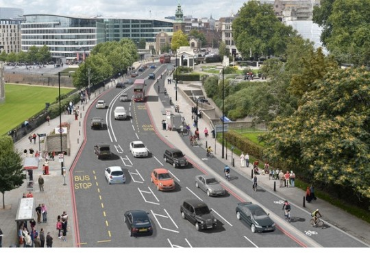 The future of Naito Parkway? (This is a design rendering of a bikeway in London).