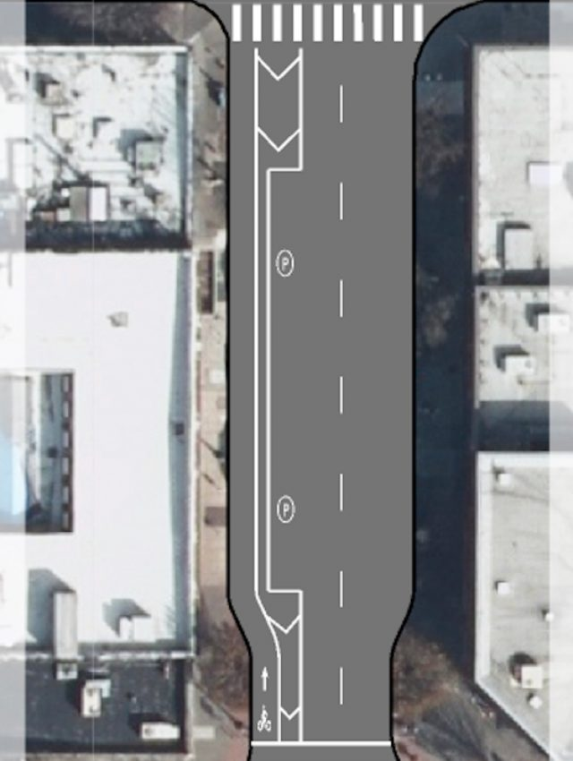 Striping plan for NW 2nd between Burnside and Couch.