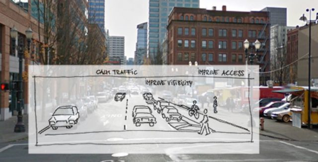 Mock-up of what 2nd Avenue will look like by the end of July.(Images: City of Portland)