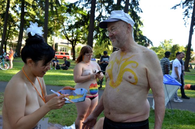 body paint older man