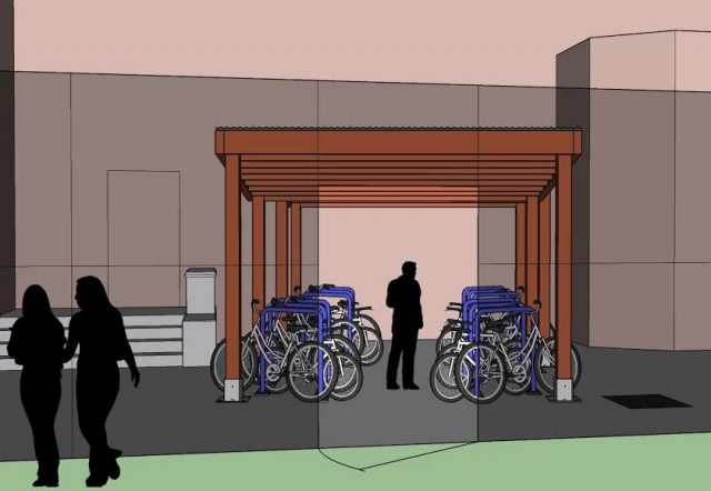 Using 12 standard PBOT staple racks set at an angle, the shelters will have room for 24 bikes.(Images: Fat Pencil Studio)