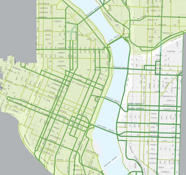 downtown portland bikeway map