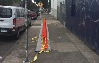 A station on SE 7th at Burnside that one of our readers says negatively impacts walking and wheelchair access space.(Photo: David Goodyke)