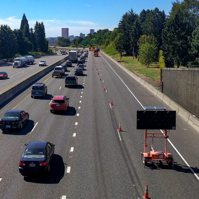 Heavy car traffic on I-5 South seen from the Failing St. Bridge; Fremont Bridge was closed to southbound traffic.