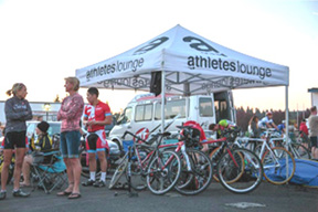 The Athletes Lounge tent at a race.