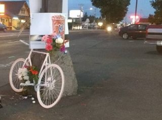 A ghost bike for Lydia Johnson has been placed at 82nd and Flavel.(Photo: Daniel Gebhart)