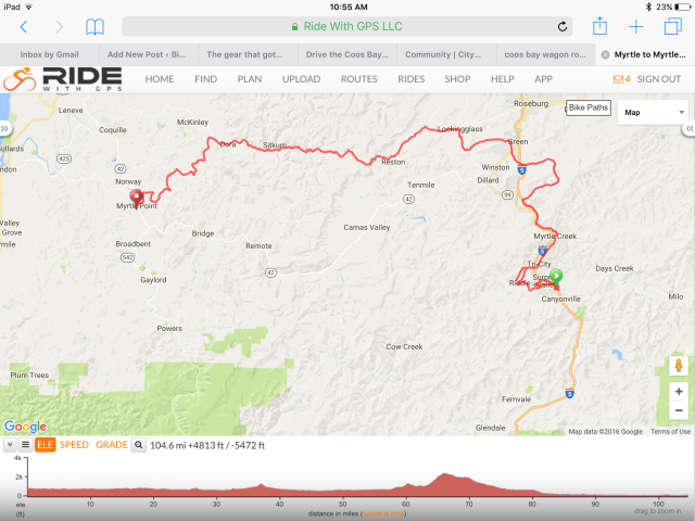 My route from Canyonville to Myrtle Point. See more details and download it yourself at RideWithGPS.com.