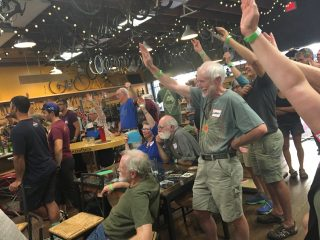 BTA members voting on the new name last night at Velo Cult in northeast Portland. (Photo: J. Maus/BikePortland)